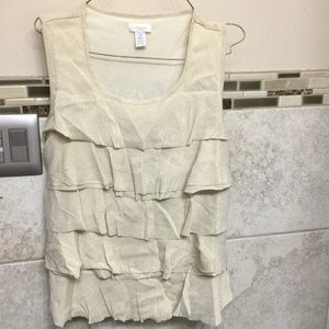 Chicos used light gold ruffle top size 2